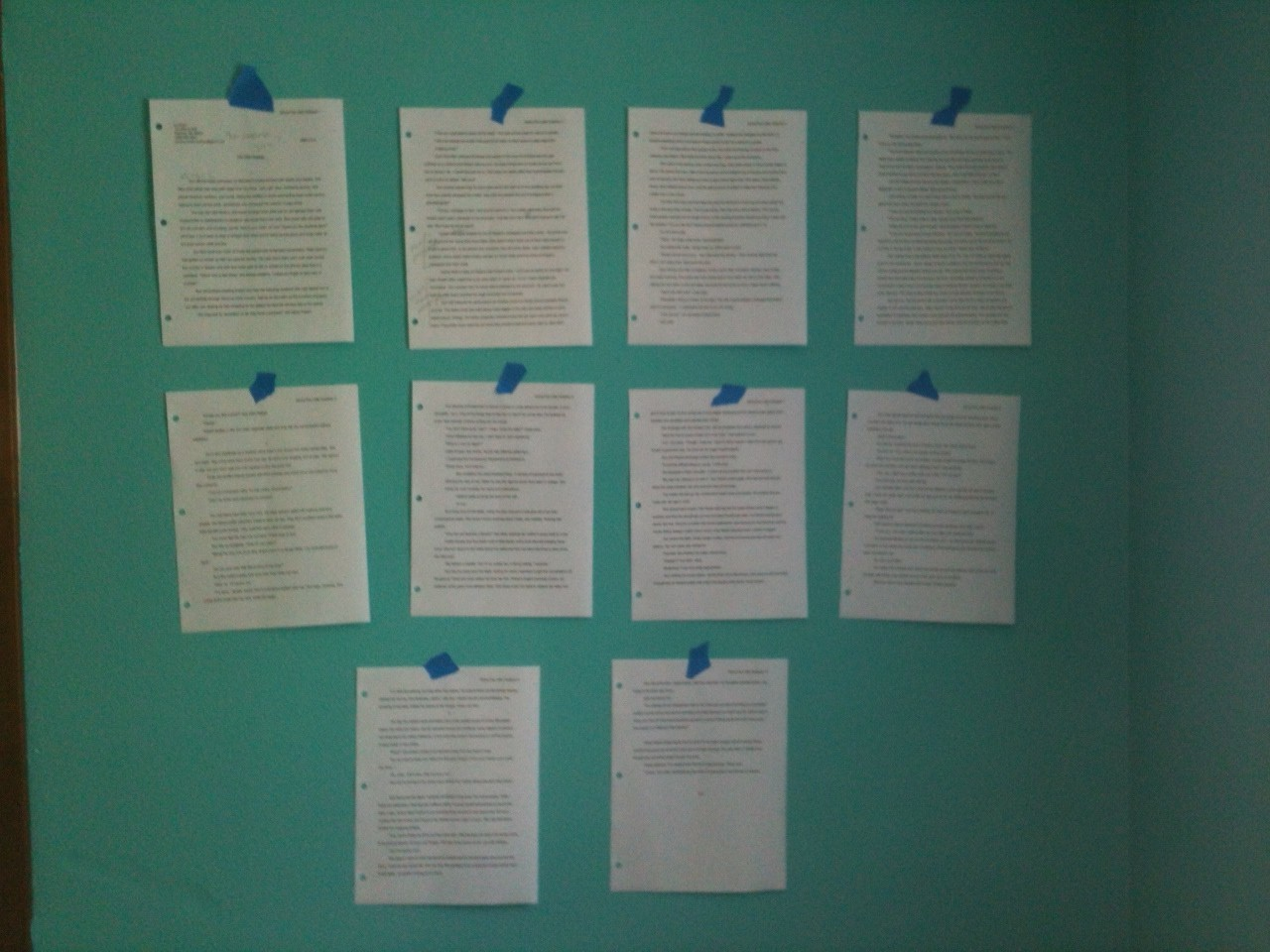 revision pages on wall