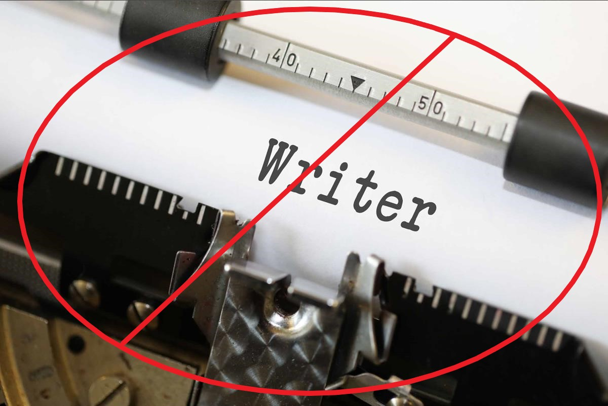 The word writer, hashed out with a don't sign