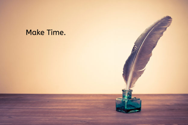 "quill pen with text that reads ""make time"""